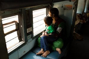 Train from Amritsar to Pathankot. India.